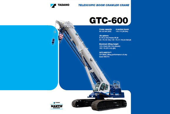 gtc 600 telescopic boom crawler crane for hire