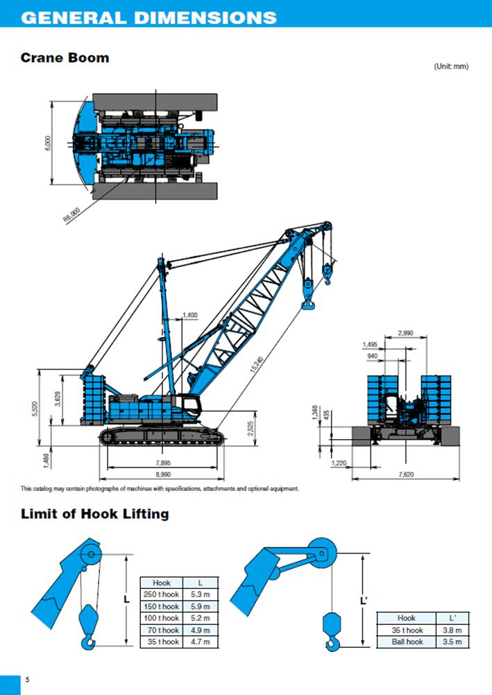 CKE2500G-2 dimesnions 250t crawler crane hire